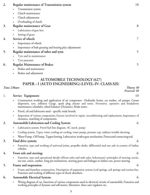 Automobile Technology Syllabus