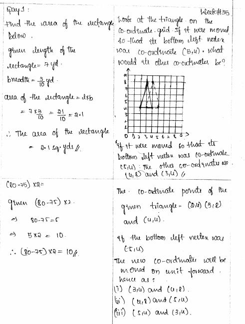 Common Core Math Grade 5 Module 1 Week 35